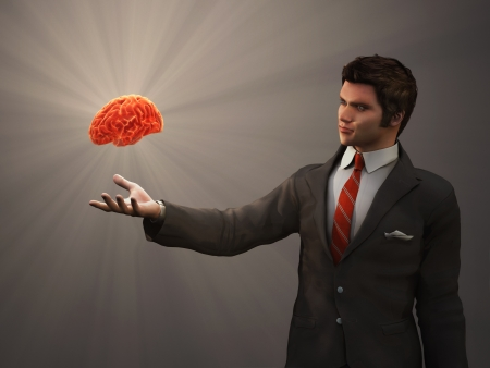 glowing brain of the human hand Stock Photo - 15477042