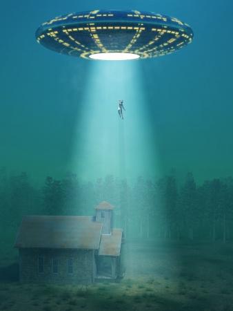 fliegende Untertasse kamen in der Nacht Standard-Bild