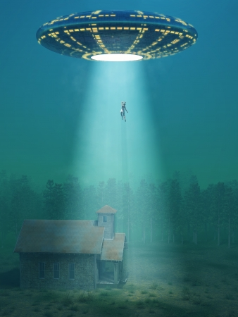 flying saucer arrived at night Stock Photo - 15561330