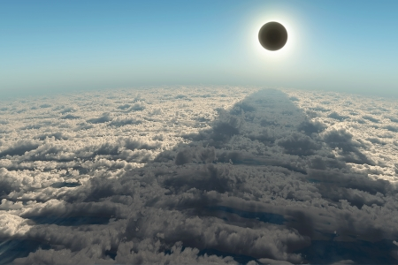 solar eclipse, aerial view