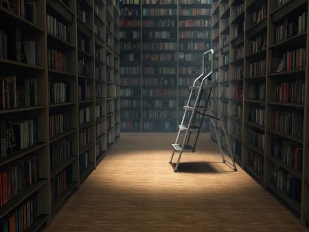 Bücher in dunklen Bibliothek