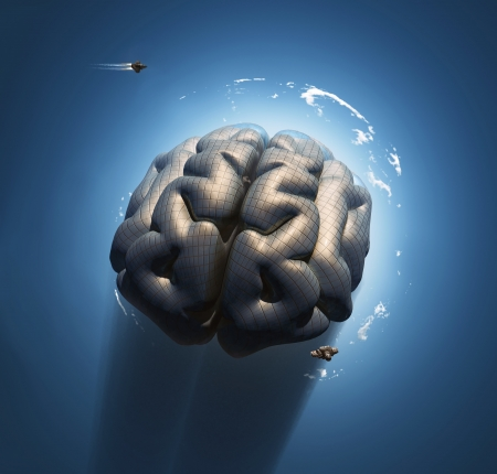 artificial satellite: mega brain Stock Photo