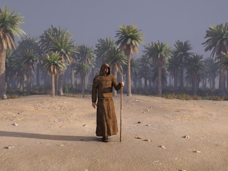 wandering monk in desert Stock Photo - 17326429