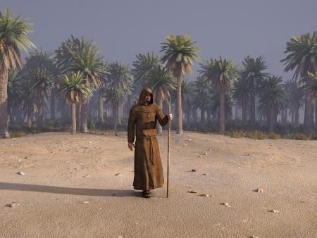 wandering: wandering monk in desert Editorial