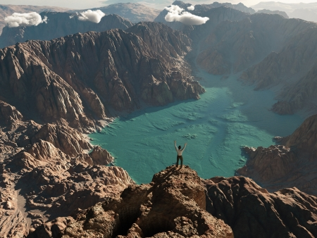 man on the edge of a canyon Stock Photo - 17541561