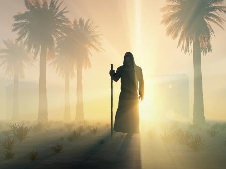 moine: moine errant au lever du soleil