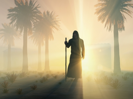 pilgrim journey: wandering monk at sunrise