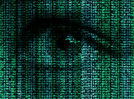 matrix: Digital eye reads the encrypted data Stock Photo