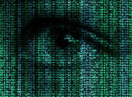 Digital eye reads the encrypted data Stockfoto