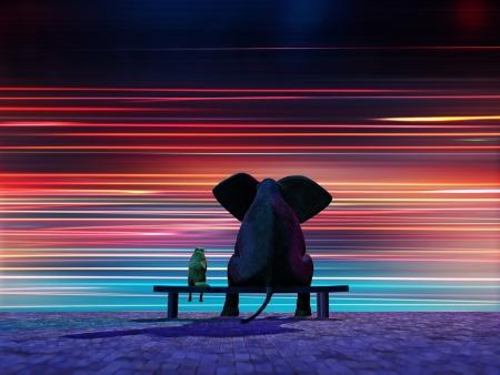 Elefant und Hund sitzt am Straßenrand Lizenzfreie Bilder