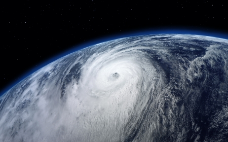 typhoon, satellite view Stockfoto