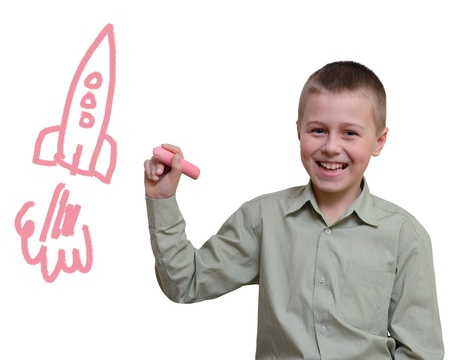 education success: child draws with chalk on white (contains a clipping path)