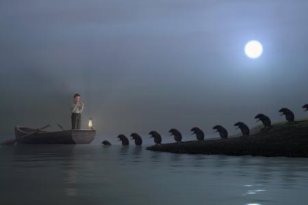ahogarse: niño jugando a las ratas fife