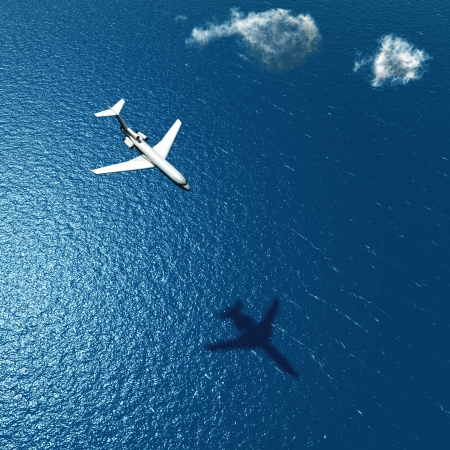 airplane flies over a sea Stock Photo - 19156027