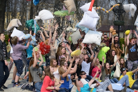 Pillow fight: flash mob pillow battle in Kiev