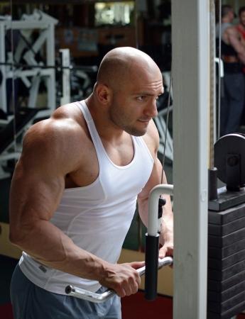 powerlifting: bodybuilder in gym