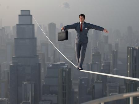 Businessman walking on Tightrope Stockfoto