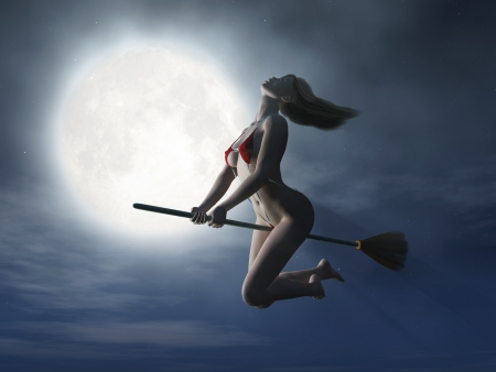 witch flying on broom at halloween night  photo