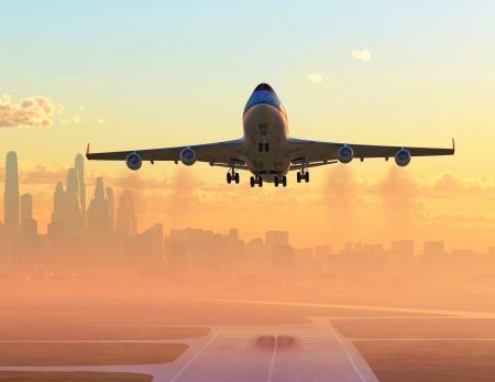airplane taking off at sunrise Archivio Fotografico