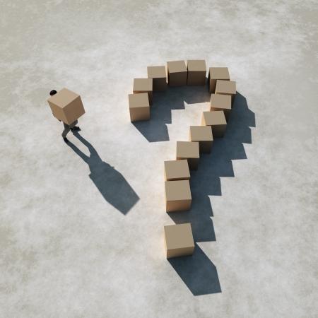 businessman builds a question photo