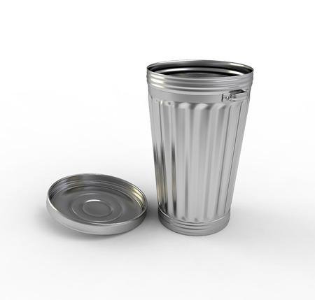 garbage disposal: Open steel trash can