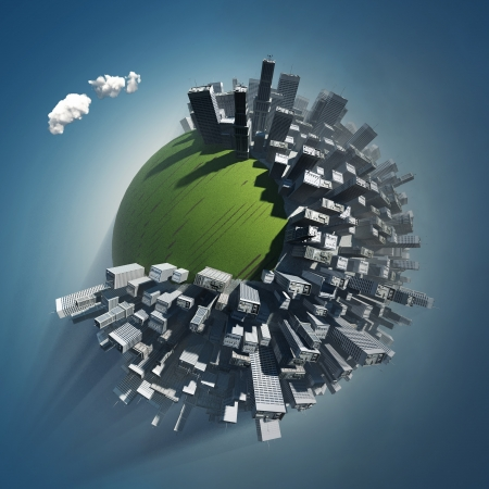 land pollution: city occupies green planet