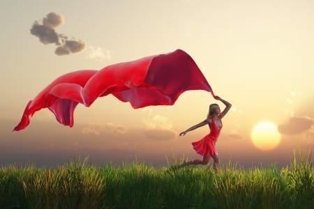 woman with a red tissue on green field