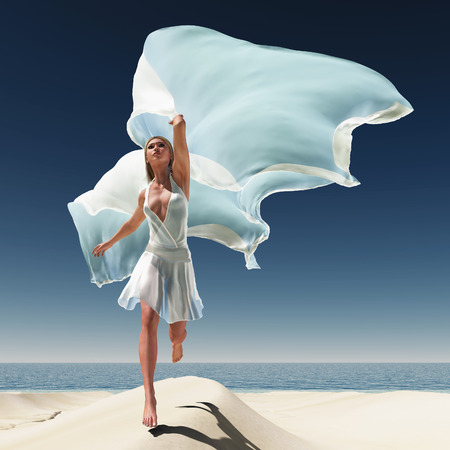 woman with a white tissue on the beach photo