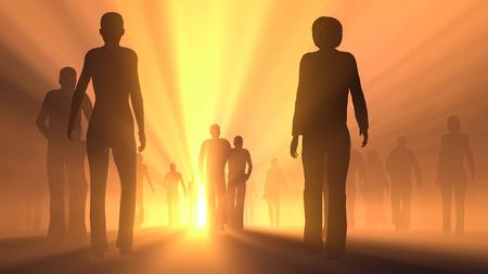 사람들의 그룹은 빛으로 이동