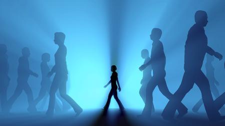 vida social: Multitud de personas caminando en la niebla