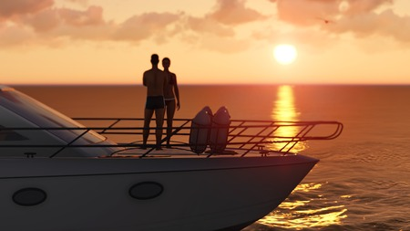 3D romantic couple on a pleasure boat