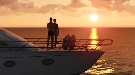 3D romantický pár na výletní lodi