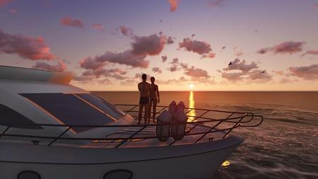pleasure boat: 3D romantic couple on a pleasure boat