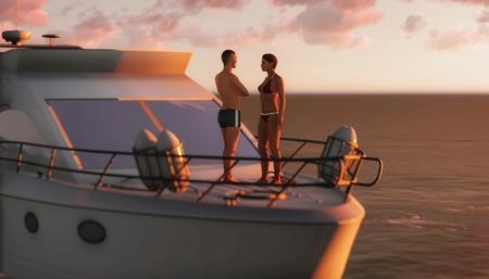 3D romantic couple on a pleasure boat photo