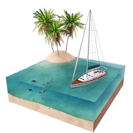 tropical island and yacht photo