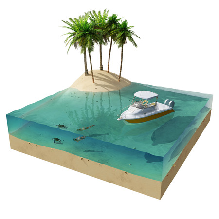 tropical island and boat photo