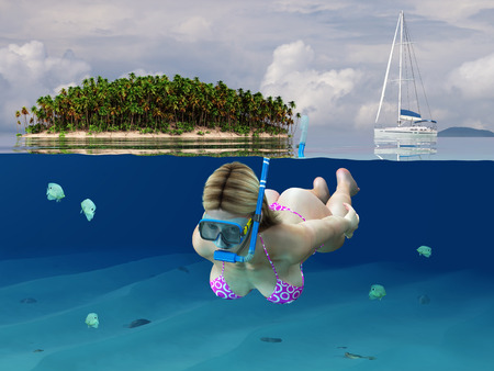 scuba goggles: woman diving in the tropical sea
