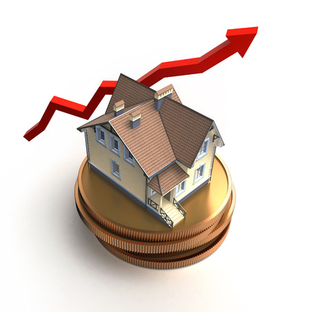 housing problems: house on a pile of coins, price increase