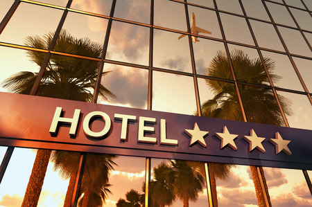 hotel sign with stars Stock Photo