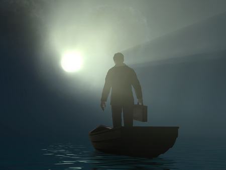 businessman drifting to the light