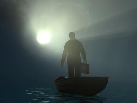 businessman drifting to the light