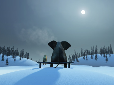 elephant and dog at Christmas night Imagens - 34056470