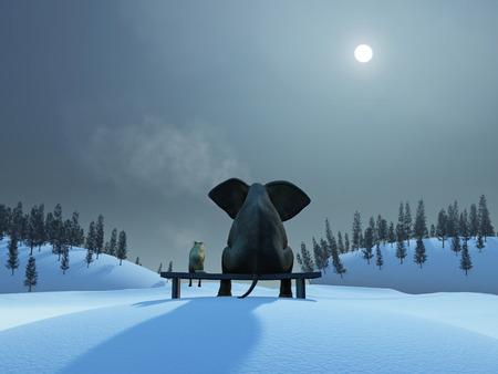 Lphant et chien pendant la nuit de Noël Banque d'images - 34056470