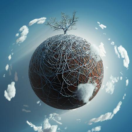 raíz de planta: árbol desnudo en el pequeño planeta Foto de archivo