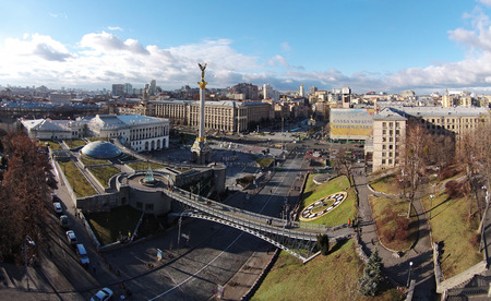 maidan: Winter in the Kiev city, aerial view of Maidan, independence square