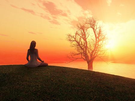 Mujer meditando al amanecer