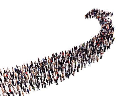 fila de personas: multitud en la forma de una flecha Foto de archivo