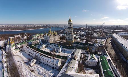 lavra: aerial view of Kiev-Pechersk Lavra at winter Stock Photo