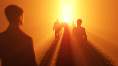 walking away: people go to the light