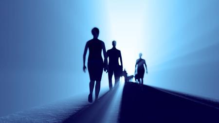 fila de personas: la gente va a la luz
